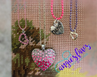 Ball Chain Necklaces, Heart, Jeweled Hearts