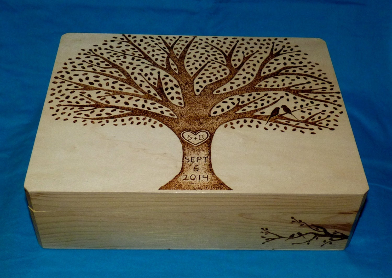 Decorative Wooden Wedding Card Box Wood Burned Box Suitcase