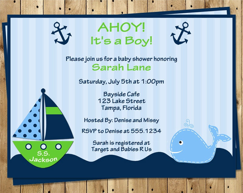 Nautical Baby Shower Invitations Ahoy Its a Boy Whale