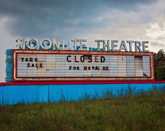 Moonlite Theater Marquee Sign | Neon Sign Art | Home Theater Decor | Movie Theater Decor | Virginia Art | Movie Lover Gift | Drive In