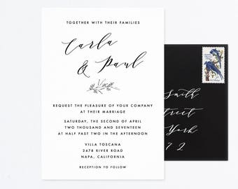 Wedding Invitation Set, Printable Wedding Invitation Suite, Calligraphy Wedding Invite, Printable Invitations, Wedding Calligraphy Invite