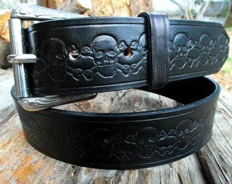 Leather Belt, Black Leather Belt, Custom leather belt, Men's leather belt, Tooled leather belt, Leather skull belt , Engraved leather belt