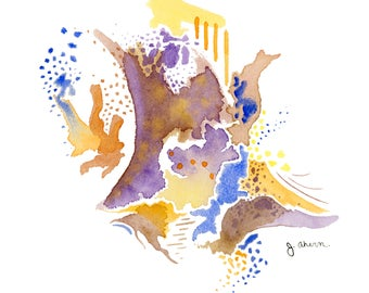 Abstract watercolor painting, original art, watercolor wall art, modern abstract art, home decoration, purple, orange, blue, & yellow