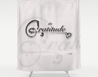 Gratitude Color Alabaster, Shabby Chic, Shower Curtain,  Type, Typography Art,  from Original hand painted type Kathy Morton Stanion  EBSQ