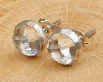 White Topaz Stud Earrings - 8mm, Gemstone Post Earrings Sterling Silver Jewelry,  Gifts For Her