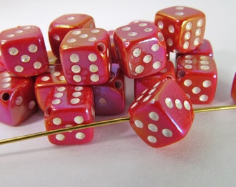 20 Vintage Red AB Dice Beads Bd493