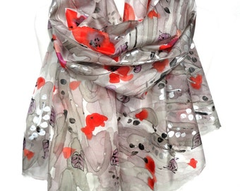 Poppies Silk Scarf. Hand Painted Sparkle Scarf. Woman Birthday Gift. Genuine Art on Silk. Silver Floral Scarf. 18x71in MADE to ORDER