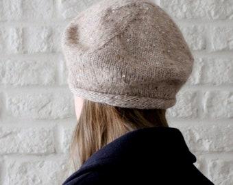 Sequin alpaca wool beret, Gift for mom, French beret, Merino wool Alpaca hat, Beret femme, Womens beret, Oatmeal, Sequin hat