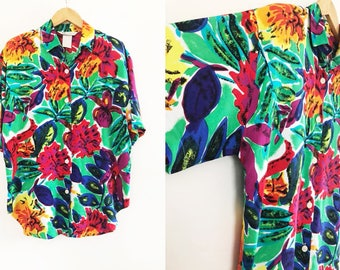 Melrose | Multi-color, Floral, Button Up Vintage 1980's Blouse / Colorful Flower Shirt / Tropical Flower Top