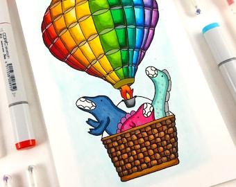 One Of A Kind Dinosaur Hot Air Balloon Marker Drawing, Original Signed Artwork, Baby Shower Gift, Nursery Decor, OOAK Illustration, 5.5x8.5
