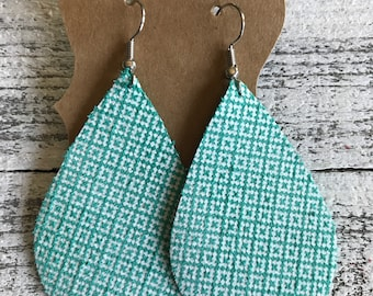 Turquoise and white teardrop leather earrings | lattice design | gifts for her | wedding gifts