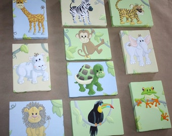 Set of 10 Mini Jungle Animal 5x7 Stretched Canvases Baby Nursery CANVAS Bedroom Wall Art SCS002