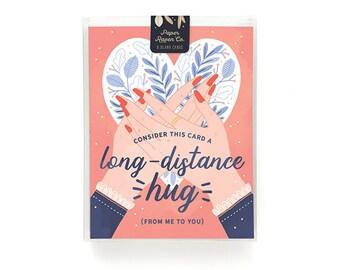 Long Distance Hug Card Box Set of 8 - Friendship Card - Love Card - Blank Inside