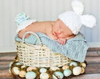 Baby Hat CROCHET PATTERN Animal Hat and Bum Cover Buttercup Bunny Set