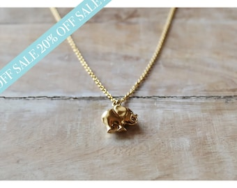 gold elephant necklace • 14K gold filled lucky elephant necklace • lucky elephant • gold elephant pendant • 14K gold filled jewelry • B179