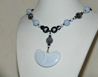 Blue Lace Agate Black Onyx Botswana Agate Sterling Silver Necklace and Earring Set