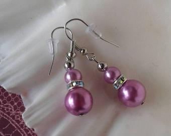 Rhinestone Pearl Earrings Purple Earrings