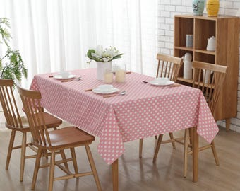 "54""x 72 "" Pink Love Square Cotton and Linen Tablecloth"