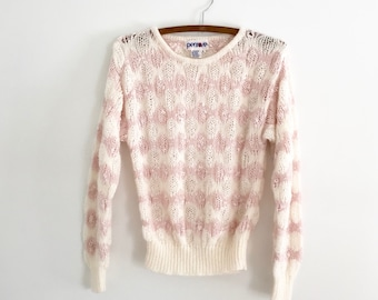 1970's Lacy Knit Blush & Cream Sweater S/M