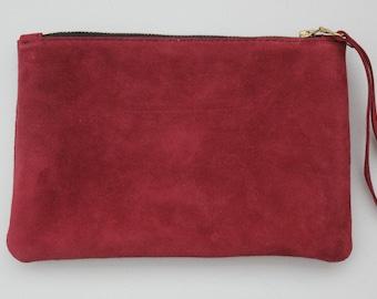 Leather Clutch bag, wristlet clutch bag,  Maroon leather suede bag, Designer leather suede bag