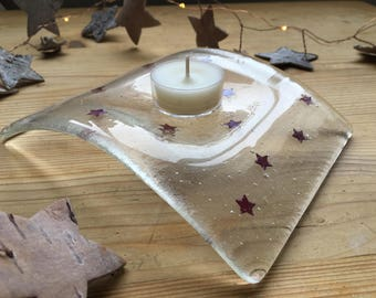 Fused Glass Copper Star Candle Arch