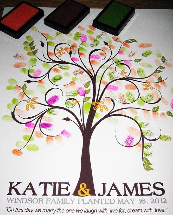 Digital Thumbprint Tree Printable Wedding Tree Guest Book