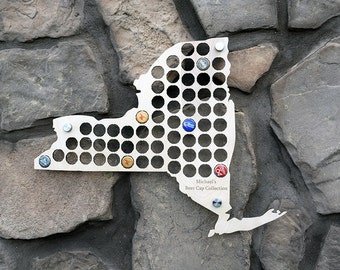 New York Beer Cap Map Perfect For NY Pubs Man Caves or Groomsman Gifts