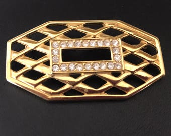 Monet Goldtone Woven Design With Pave Rhinestone Studded Rectangle Brooch