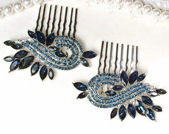 PAIR Navy Blue Bridal Hair Combs, Silver Crystal Rhinestone Sapphire Wedding Hairpiece, Something Blue Headpiece Art Deco Dark Blue Jewelry
