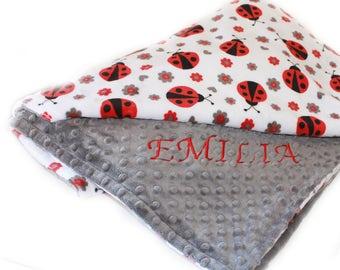 Personalized Baby Blanket Girl, Ladybug Blanket, Minky Baby Blanket  Baby Shower Gift, Name Blanket, Baby Gift, Baby Girl Receiving Blanket