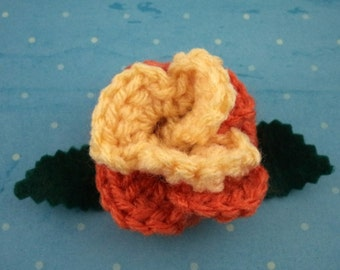 Crocheted Rose Hair Clip - Yellow and Orange (SWG-HC-MPAJ02)