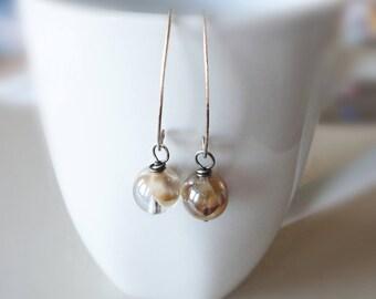 Glass Bead Earrings, Cafe Latte, Coffee Bean Earrings, Brass Earrings, Dangle Earrings, Light Brown Bead Earrings, Drop Earrings, Simple