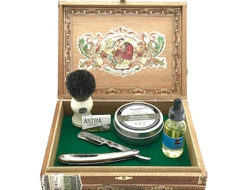 Luxury Shaving Kit in Vintage Cigar Box