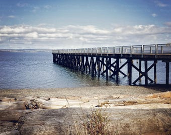 Fine Art Seaside Dock Photograph {Ocean Artwork, Sea Picture, Over-sized Sky Print, Home Decor Photo, Nautical Picture, Coastal Photography}