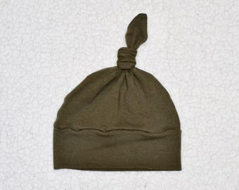 Cotton/Spandex Knit, Boy/Girl Knot Hat, Soft Hat, Toddler, Dark Olive Green, Baby Gift