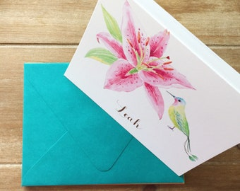 Hummingbird stationery, watercolor stationery, custom stationery, personalized stationery, Mother's Day gift, teacher appreciation gift