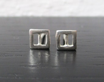 Small rectangle stud earrings, tiny geometric studs, open rectangle post earrings, dainty silver posts, minimal everyday studs, square posts