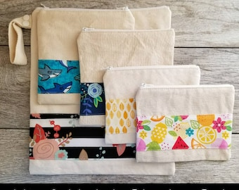 Choose Your Prints / Mix and Match -- Snack / Sandwich / Quart / Gallon Size Reusable Bag -- Natural Canvas -- Made to Order