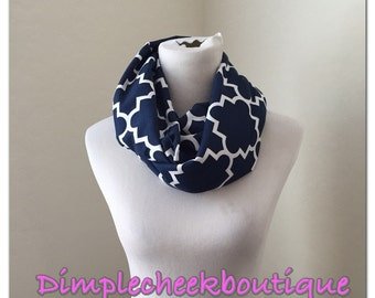 Navy quatrefoil scarf- available in infinity and regular!