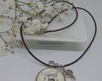 """Cabochon with the lyrics """"Tune My Heart to Sing Thy Grace"""", (David Crowder Band), Necklace with treble clef silver toned charm"""