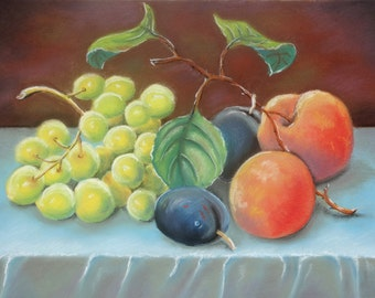 """Soft Pastel Drawing - Still Life with Peaches and Grapes - Fruit Still Life Art Soft Pastel """"12 x16"""" (30cm x 40cm)"""
