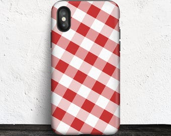 Red Gingham iPhone X Tough Case - Pattern with Red and White - Made to Order