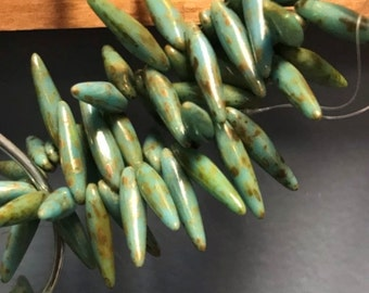 Czech Glass Thorns 4mm x 15mm Turquoise Picasso, Spikes, Daggers