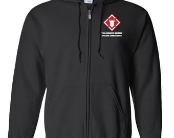 20th Engineer Brigade Embroidered Hooded Sweatshirt w/ Zipper-7249