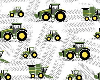 JOHN DEERE  tractor tracks farm equipment on white~ -by the yard- Springs 100% cotton fabric