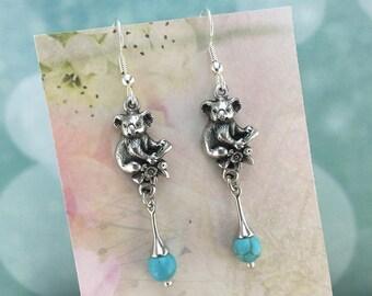 Koala Australian Souvenir Earrings, Turquoise Magnesite, Australian Jewellery, Australian Seller, Australian Earrings, Australian Jewellery