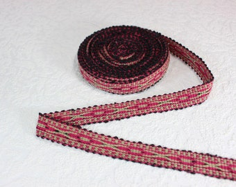 Woven Trim (6 yards), Woven Border, Cotton Ribbon, Grosgrain Ribbon, Dress Border, Border Trim, R188