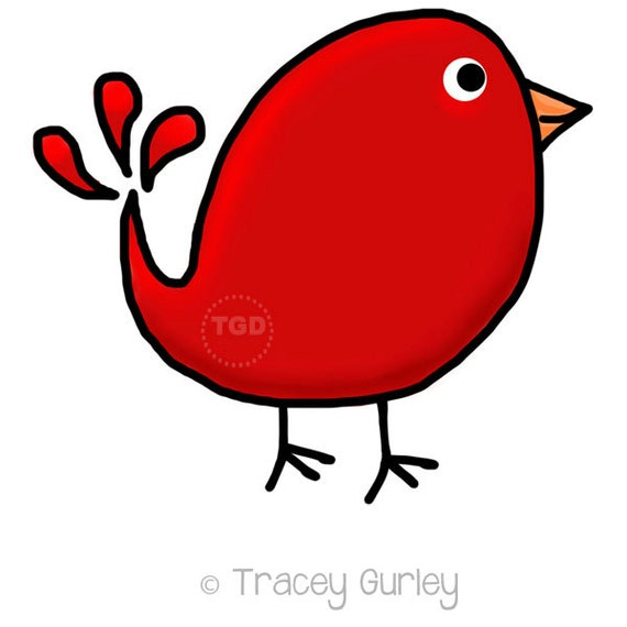 preppy cute red bird original art download bird clip art rh etsy com red bird clipart free cute red bird clipart