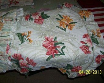 Vintage Orchid  style print sham  and table cover