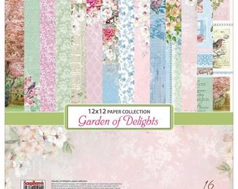 Scrapberry's, Garden of Delights 12 x 12 Paper Pack, Scrapbooking, Card Making,  Mixed Media, Mini Album